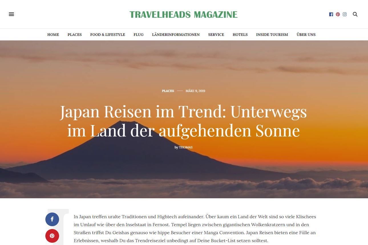 Artikel Travelheads Magazine - Webdesign
